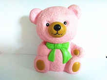 Bow Tie Pink Bear PU Soft Slow Rising Squishy Toy