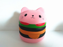Hamburger Cat Super Squishies Scented PU Soft Slow Rising Squishy Toys