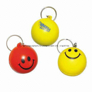 PU Smiley Stress Ball Keychains Promotional Gift Toy