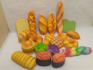 2019 Hot Selling Cute Breads PU Squishy Toys Slow Rising Stress Squeezable Assorted