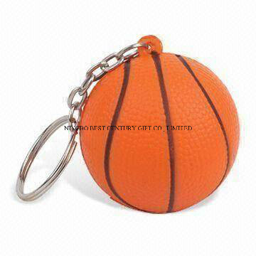 PU Stress Keychain in Basketball Shape Promotional Stress Ball
