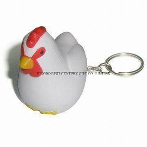 PU Stress Chicken Keychain Promotional Stress Balls Toy