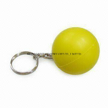 Wholesale PU Stress Keychain in Round Shape Promotional Stress Balls
