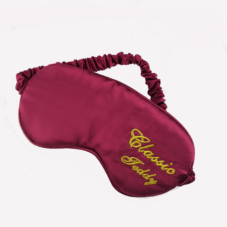 Wholesale Solid Color Sleep Mask Silk Like Material Satin Eye Patch Adjustable Imitated Silk Fabric Eyepatch Comfortable Breathable Eyemask with Piping